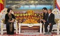 阮氏金银与柬埔寨国会主席韩桑林举行会谈