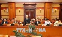越共中央书记处就5个检查团对越共12届4中全会决议和政治局5号指示落实情况的检查结果召开会议