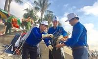 """近500名青年团员参加""""绿色越南海洋""""活动"""
