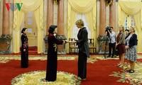 邓氏玉盛会见前来递交国书的各国驻越大使