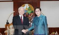 Nguyen Phu Trong trifft Laos Parlamentspräsidentin Pany Yathotou