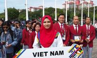 参加Sea Games 29的东南亚各国体育代表团的升国旗仪式举行