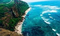 Schöne Landschaft des Bergs Thoi Loi auf Insel Ly Son