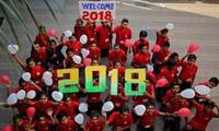Die Welt begrüßt das Jahr 2018