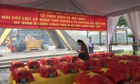 Truy điệu các hài cốt liệt sỹ là quân tình nguyện và chuyên gia Việt Nam hy sinh tại Lào