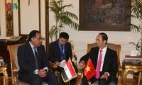 Chủ tịch nước Trần Đại Quang hội kiến với Thủ tướng Ai Cập