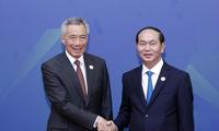 Pres. Vietnam, Tran Dai Quang menerima PM Singapura, Lee Hsien Loong
