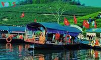 Pulau teh Thanh Chuong menyerap kedatangan wisatawan sehubungan dengan Hari Raya Tet