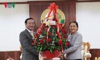 越南党和国家领导人向老挝党和国家领导人致以传统新年祝贺