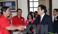 Chủ tịch nước Trương Tấn Sang làm việc với Trung ương Hội Chữ thập Đỏ Việt Nam