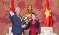 Chủ tịch Quốc hội Nguyễn Thị Kim Ngân hội kiến với Chủ tịch Hội đồng Nhà nước và Hội đồng Bộ trưởng Cuba Miguel Mario Diáz Canel Bermúdez