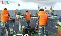 Cảnh sát biển vùng 2 lai dắt tàu cá của ngư dân Quảng Ngãi vào bờ an toàn
