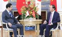 Chủ tịch nước Trần Đại Quang tiếp Chủ tịch Đảng Cộng sản Nhật Bản Kazuo Shii