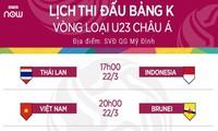 VOV, VTC độc quyền phát sóng trực tiếp bảng K vòng loại U23 châu Á 2020