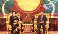 阮氏金银会见老挝人民革命党中央总书记、国家主席本扬