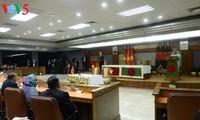 越南国家主席陈大光与孟加拉国总理哈西娜共同主持记者会