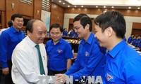 阮春福与胡志明共青团中央举行工作会议