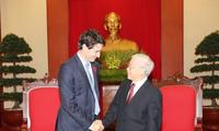 Tổng Bí thư Nguyễn Phú Trọng tiếp Thủ tướng Canada Justin Trudeau