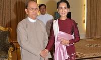 ประธานาธิบดีพม่าหารือกับผู้นำพรรคNLDเกี่ยวกับการถ่ายโอนอำนาจทางการเมือง