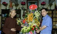 คณะกรรมการศาสนาของรัฐบาลเยี่ยมเยือนสังฆนายกพุทธสมาคมเวียดนามในโอกาสเทศกาลวูลาน