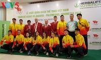 พิธีปล่อยแถลวขบวนคณะนักกีฬาเวียดนามที่เข้าร่วมการแข่งขัน ASIAD 2018