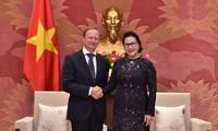 阮氏金银会见欧盟驻越南代表团团长安格莱特