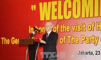 Líder partidista vietnamita confía en nuevas perspectivas de cooperación comercial con Indonesia
