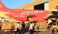 เที่ยวบินบรรเทาทุกข์เที่ยวแรกของสายการบิน VietJetAir ถึงฟิลิปปินส์
