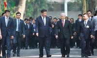 เลขาธิการใหญ่พรรคคอมมิวนิสต์เวียดนามกับเลขาธิการใหญ่และประธานประเทศจีนร่วมงานเลี้ยงน้ำชาอาหารเช้า