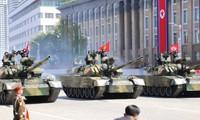สาธารณรัฐประชาธิปไตยประชาชนเกาหลีเดินขบวนสำแดงกำลังในโอกาสฉลองครบรอบ 70 ปีวันชาติ