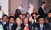ประธานสภาแห่งชาติ เหงียนถิกิมเงิน กล่าวปราศรัยในการประชุมครบองค์ครั้งแรกประธานรัฐสภาประเทศเอเชีย-ยุโรปครั้งที่ 3