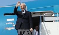 越共中央总书记阮富仲抵达巴黎开始对法国进行正式访问