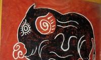 Die folkloristischen roten Kim Hoang-Bilder