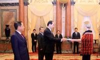 Staatspräsident Tran Dai Quang empfängt Botschafter der Länder