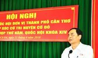 Vorsitzende der vaterländischen Front Vietnams Tran Thanh Man trifft Wähler in Can Tho