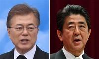 일본과 한국 지도자, 한반도 현황에 대해 회담