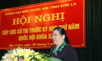 Tong Thi Phong 베트남 국회 부의장, Son La, Moc Chau 현 유권자 만나