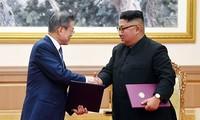 조선 김정은 국방 위원장, 한 - 미 회담 진전 기대