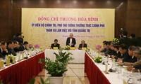 쯔엉 화 빈 상임 부총리, 꽝찌 성 지도자와 실무 회의