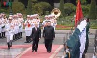 주석궁에서의 김정은 위원장 환영식 모습
