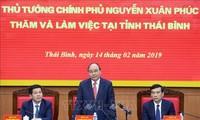 Nguyên Xuân Phuc travaille avec les dirigeants de Thai Binh