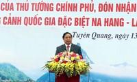 Trưởng ban Tổ chức Trung ương Phạm Minh Chính dự lễ phát động thi đua tại tỉnh Tuyên Quang