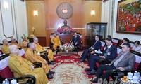 ประธานแนวร่วมปิตุภูมิเวียดนามให้การต้อนรับคณะผู้แทนพุทธสมาคมเวียดนาม