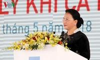 ประธานสภาแห่งชาติเหงวียนถิกิมเงินเข้าร่วมพิธีเปิดโรงงานผลิตก๊าซธรรมชาติก่าเมา