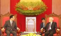 เลขาธิการใหญ่พรรค ประธานประเทศเหงวียนฟู้จ่องให้การต้อนรับคณะผู้แทนพรรคคอมมิวนิสต์ญี่ปุ่น