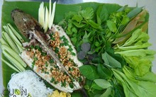 Fresh spring rolls with fish and herbs