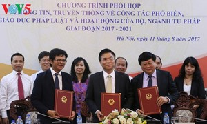 กระทรวงยุติธรรม สถานีโทรทัศน์เวียดนามและสถานีวิทยุเวียดนามประสานงานเผยแพร่ข้อมูลข่าวสาร
