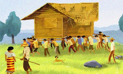 Bayanihan, house-moving tradition of the Philippines