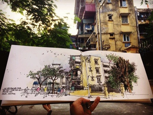 Sketchers tell pictorial stories of Hanoi's past and present   - ảnh 3