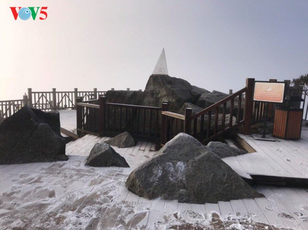Fansipan mountain covered with frost